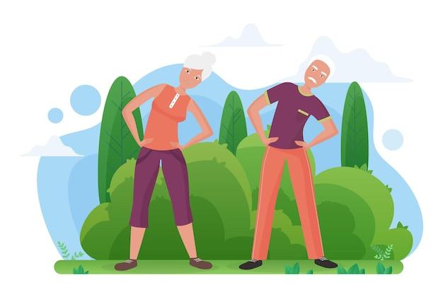 Mignon Vieux Couple De Personnes âgées Faisant Des Exercices De Sport Dans Le Parc Vecteur Premium