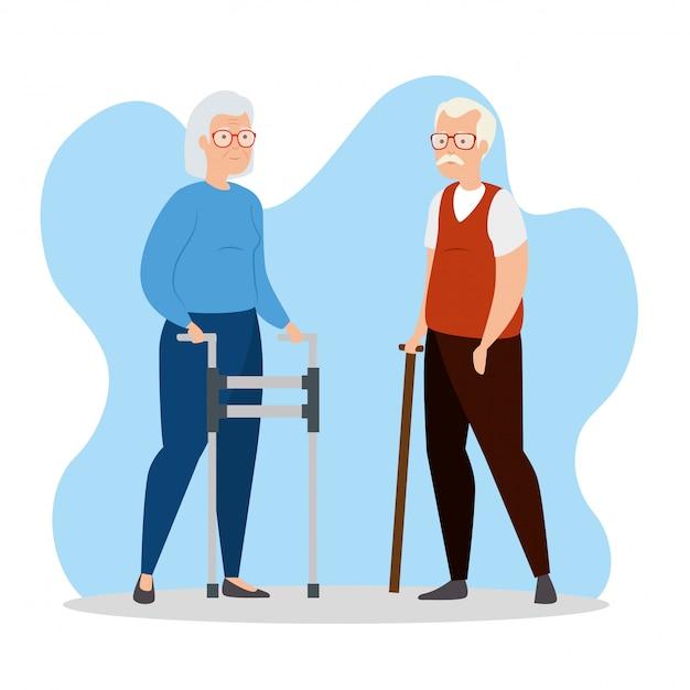 Mignon vieux personnage avatar couple
