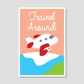 Mignonne aventure et voyageant dans la série de conception de carte / affiche d'été