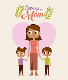 Mignonne femme tenant des enfants vous aime maman