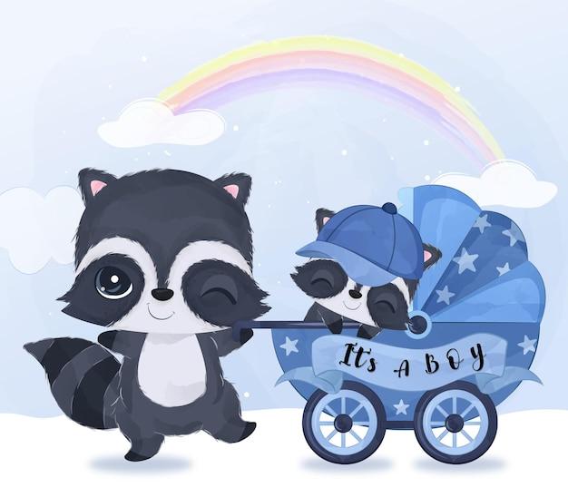 Mignonne maman et bébé raton laveur jouant ensemble dans une illustration à l'aquarelle
