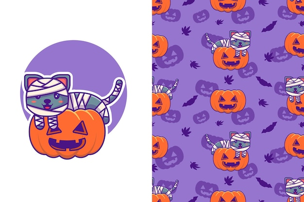 Mignonne maman chat et citrouille joyeux halloween avec motif sans couture