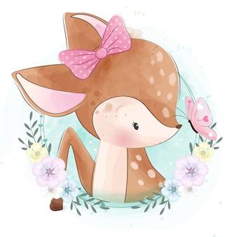 Mignonne petite chérie avec fleur