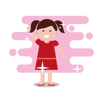 Mignonne petite fille bras haut illustration vectorielle de fond clair couleur lumineuse
