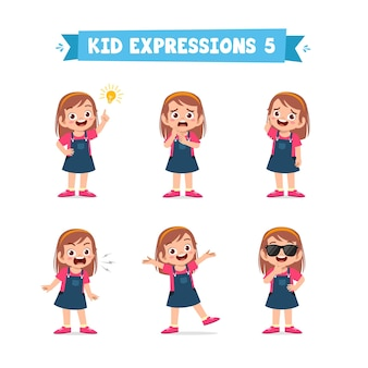 Mignonne petite fille dans diverses expressions et ensemble de gestes