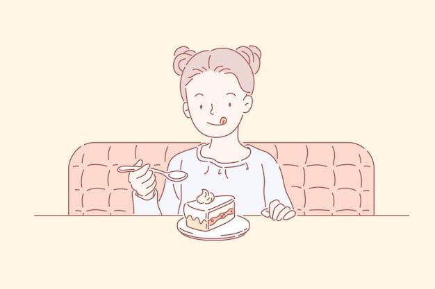 Mignonne petite fille avec double noeud supérieur, manger un gâteau au café, style art en ligne
