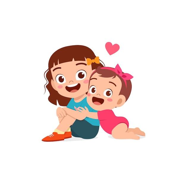 Mignonne petite fille embrasse grand frère soeur