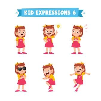 Mignonne petite fille enfant dans diverses expressions et ensemble de gestes