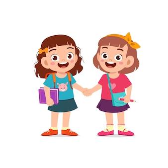 Mignonne petite fille enfant tenant la main avec son illustration ami