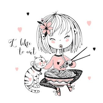Mignonne petite fille mangeant des nouilles de baguettes.