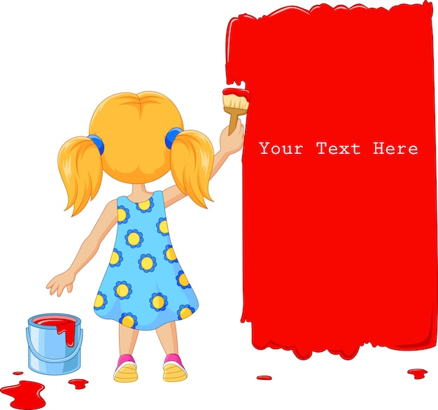 Mignonne petite fille peignant le mur avec la couleur rouge
