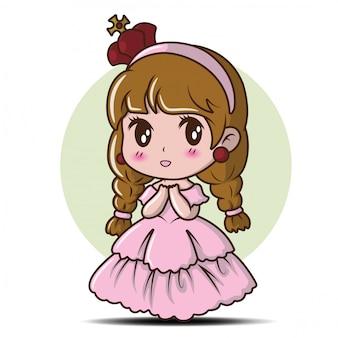 Mignonne petite fille portant une princesse., dessin animé de conte de fées.