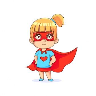 Mignonne petite fille en pose de super-héros, cape rouge avec un fond blanc