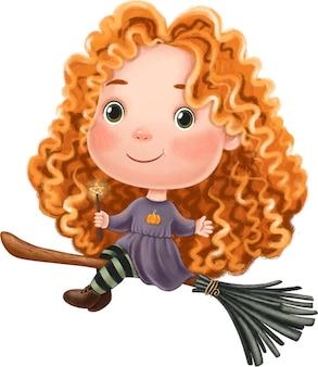 Mignonne petite fille de sorcière assise sur une illustration d'halloween de manche à balai