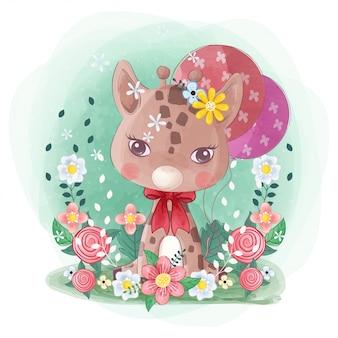 Mignonne petite girafe dessinée à la main avec des fleurs et des ballons