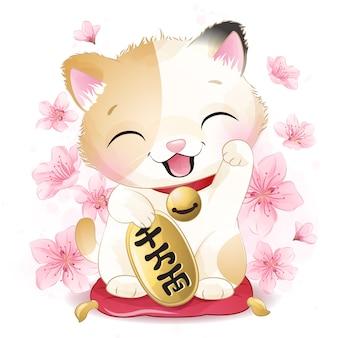 Mignonne petite illustration de chat chanceux