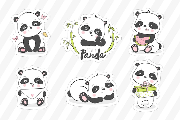 Mignonne petite illustration de panda. collection d'autocollants animaux.