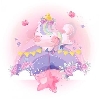 Mignonne petite licorne et arc-en-ciel dans un ciel lumineux.