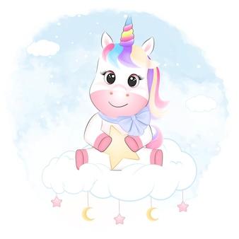 Mignonne petite licorne assise sur l'illustration aquarelle de nuage