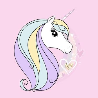 Mignonne petite licorne blanche. couleurs douces pastel.