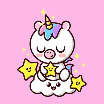 Mignonne petite licorne avec des cheveux colorés et une corne jaune brillante tenant une étoile et assis sur une mascotte et un personnage de nuage souriant