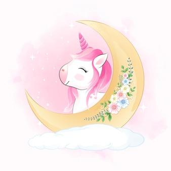 Mignonne petite licorne et croissant de lune sur l'illustration aquarelle animal nuage