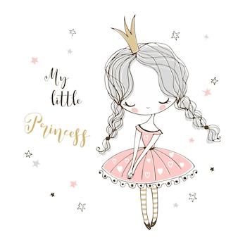 Mignonne petite princesse dans un style doodle.
