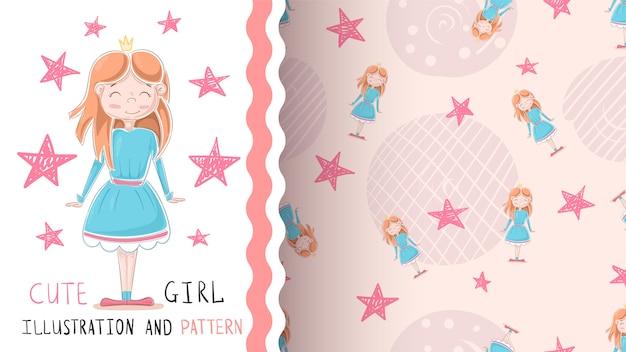 Mignonne petite princesse - modèle sans couture.