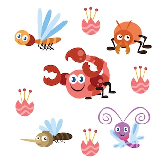 Mignonne petite série de dessin animé d'insectes