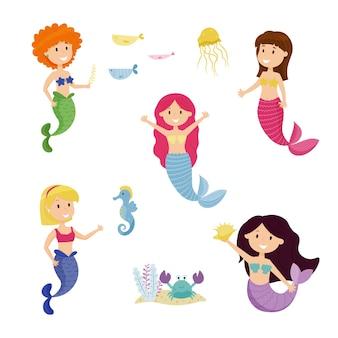 Mignonne petite sirène définie illustration vectorielle pour les enfants