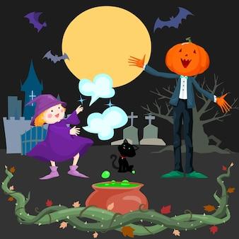Mignonne petite sorcière dans la nuit de pleine lune d'halloween avec le fond de m.jack-o'-lanterne