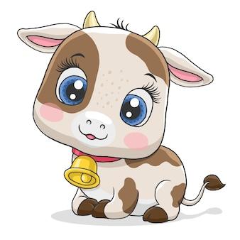 Mignonne petite vache isolée sur fond blanc.