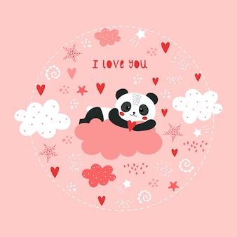Mignonne saint-valentin avec panda.
