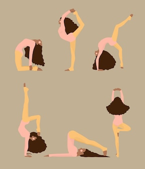 Mignonnes femmes faisant des poses de yoga