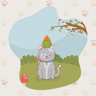 Mignonnes mascottes de chat et perroquet