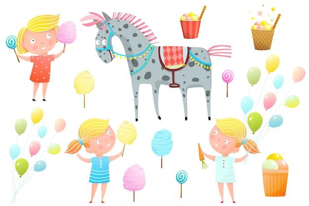 Mignonnes petites filles à la foire avec des bonbons, de la barbe à papa, des sucettes et du poney. carnaval, foire et autres divertissements pour la collection d'objets clipart pour enfants.