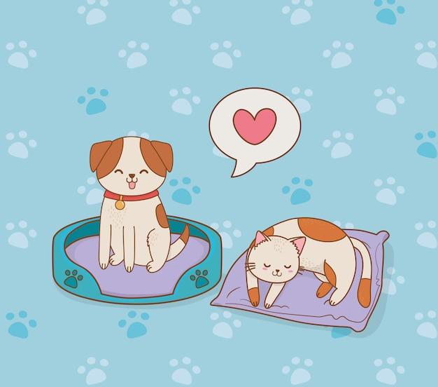 Mignonnes petites mascottes doggy et kitty