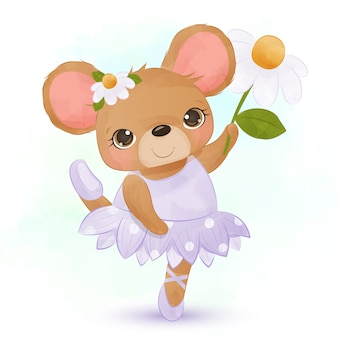 Mignonnes petites souris portant une robe de ballerine et dansant joyeusement