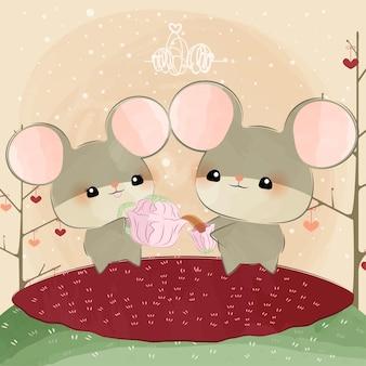 Mignonnes petites souris avec tasse de fleurs