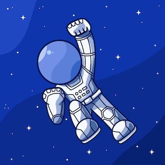 De mignons astronautes volent dans l'espace