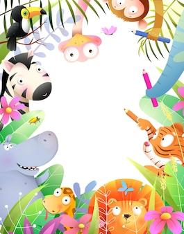 Mignons bébés animaux dessinant avec des crayons invitation d'enfants de la jungle ou conception de cadre de diplôme pour les enfants