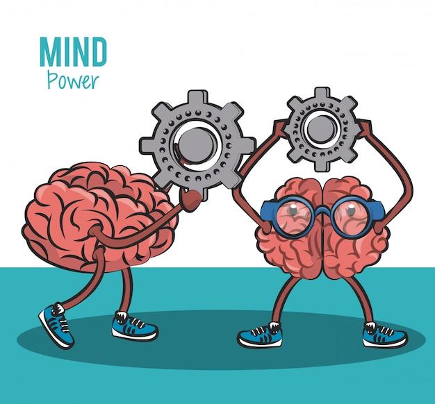 Mignons cerveaux dessins animés tenant un engrenage vector illustration graphisme