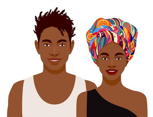 Mignons hommes africains souriants et femme isolée
