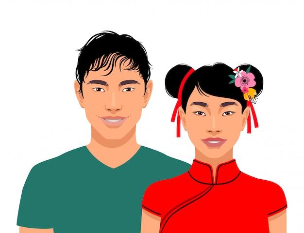 Mignons hommes asiatiques souriants et femme isolée