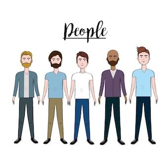 Mignons hommes avec coiffure et usure différente