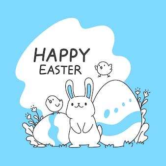 Mignons lapins et poussins et oeufs de pâques, illustration vectorielle ligne simple et propre