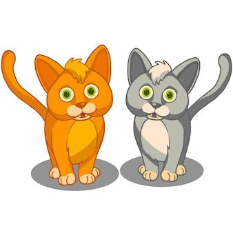 Mignons meilleurs amis chats vector illustration