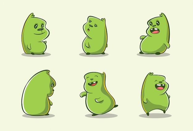 Mignons monstres de doodle dessinés à la main avec des expressions