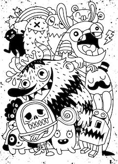 Mignons monstres de halloween effrayants et candy