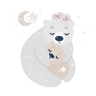 Mignons ours polaires, fleurs, lune et étoiles